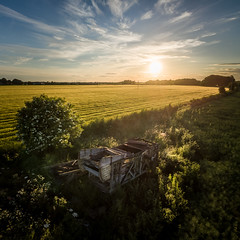 Untitled (Draws_With_Light) Tags: vegetation aerialphotography landscape sunset djiphantom3advanced agriculture scene abandoned tree eastridingofyorkshire summer season fields architecture hayton drone wheatfields places camera england unitedkingdom gb