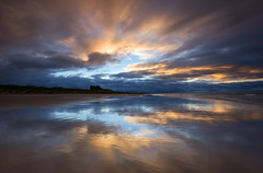 Reflections at Bamburgh (Tracey Whitefoot) Tags: tracey whitefoot 2016 northumberland north east coast bamburgh beach castle reflection reflections sunset dusk