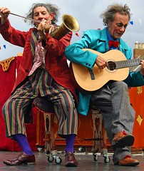 Duo (WISEBUYS21) Tags: mouth tyne festival tynemouth priory village clowns musicians comic comical funny touching guitar trumpet violin colourful northshields whitleybay laughter laugh out loud lol wisebuys21 entertainment
