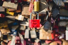 Resignation (neus_oliver) Tags: lock padlock love kln cologne bridge heartbroken forever alone red unloved sad lonely solitude