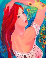 Bonheur Parfum / Happiness Perfume (Leelooart) Tags: lartauparfum parfum parfum portrait paon painting femme sensuel color colorful colored acrylique acrylic rouge bleu vert rose leelooart