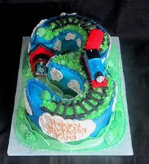 Thomas the Train on Carved Number 3 Fondant Cake (tanyacakes) Tags: carvedcake numberthree 3 gumpaste sugarpaste fondant cakedecorating