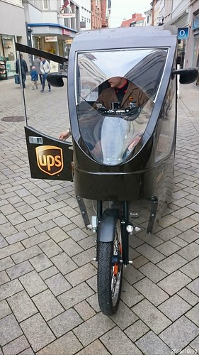 UPS e-bike delivering in Oldenburg's pedestrianised city centre.