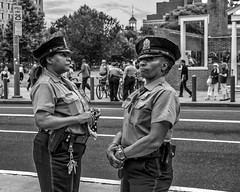 Market Street, 2016 (Alan Barr) Tags: philadelphia 2016 marketstreet independencemall independenceday street sp streetphotography streetphoto blackandwhite bw blackwhite mono monochrome candid people police panasonic gx8