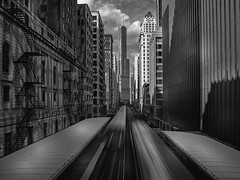 SHADOW BOX (Nenad Spasojevic) Tags: dramatic monochrome arhitecture buildings chi 2016 downtown nenadspasojevic city shade infrared shadows naturallight olympus urbanexploration bw fineart blackandwhite urban chicago adamsandwabash trainstation narrow trains illinois il usa