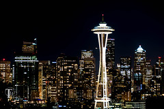 Seattle Skyline and Space Needle at Night (terrywhite) Tags: empty kerrypark seattle sky tourism tower trees usa american architectural architecture attraction beautiful building buildings business circular city district downtown evening hill kerry landmark lights modern needle night nightspaceneedle nightview outdoor pacific romantic scenery seattleskyline seattlespaceneedle seattlewashington skyline space spaceneedle town travel twilight urban washington