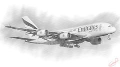 CFR3705 A380 in sketch edition (Carlos F1) Tags: nikon d300 aircraft airplane aeronave aeroplane bcn lebl airliner approach landing spotter spotting transporte transport aviation a6eek emirates uae ek airbus a380861 a380800 a380 a388 380 388 380861 elpratdellobregat barcelona spain avion avin aviacin aviacion pencil lpiz sketch dibujo papel paper