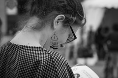 Music and the go... (Periades) Tags: bw blackandwhite blackwhite bijou candid cheveux fille femme girl glasses human hair jewel lunettes noiretblanc nb photoderue rue streetphotography street steethuman woman