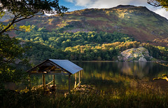 North Wales-1323 (rostyslav_k) Tags: lake green yellow golden sun water wales autumn tree shelter