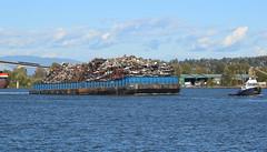 Scrap Metal Barge (drmack2) Tags: fraserriver bc mercury m8001 skytrain surrey rebar automobile cars junk amix recycle