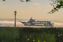 "Color of Autumn 2016 In NYC (Impressionistic Photo Of Sightseeing Boat On Hudson River Overlooking From Hedges In Battery Park City"" - seeing people on board in vista enjoying afternoon boat ride) (nrhodesphotos(the_eye_of_the_moment)) Tags: dsc0177372 ""theeyeofthemoment21gmailcom"" ""wwwflickrcomphotostheeyeofthemoment"" colorofautumn2016innyc autumn season tourists sightseeing cruiseship hudsonriver people waterfront reflections shadows lightfixture skyline manhattan impressionism imagery abstractive boatride greenery plantlife window effect outdoor nyc transportation landscape"