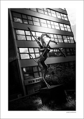 Horse and Rider (Descended from Ding the Devil) Tags: bw barkerspool fountainprecinct sheffield sonya7mkii sonyalphadslr yorkshire blackandwhite building city fullframe horseandrider mirrorless monochrome outdoor photoborder plants reflection statue windows dutchangle