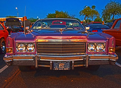 Cowboy Cadillac (oybay) Tags: add tags beta dodge royal dodgeroyal cadillac cadillaceldorado eldorado caddy 1974 champagne convertible generalmotors gm coolcar heavymetal orange white twotone chrome lotsofchrome carshow glendale glendalearizona arizona mixteca classic classiccar sunset sunlight reflection color colors colorful vehicle lines