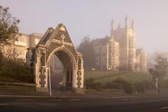 The High School (Ian@NZFlickr) Tags: obhs otago boys high school gate tower mist fog dunedin nz