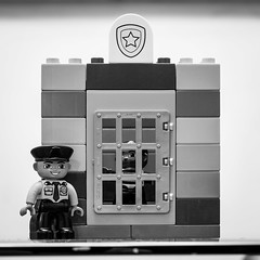 Jail 20/52 (Go-tea 郭天) Tags: 52 52project project 20 canon eos 100d 50mm lego bw bnw blackandwhithe blackwhite black white police policeman jail door blocks duplo game toy kid construction fun bad punish punishment thief robber lines shadow indoor inside china qingdao huangdao asia