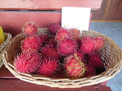 A Basket of Rambutan (jimmywayne) Tags: hawaii hawaiicounty fruitstand fruit bigisland rambutan