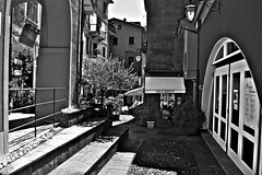 """Dinner Time"" (giannipaoloziliani) Tags: giannipaoloziliani luxury biancoenero monocromo viuzza architettura liguria street angle monochrome blackandwhite restaurant ristorante angolo lights shadows luci ombre trees people dinner italy portofino nikond3200 italia nikoncamera captured nikon arcs archi streetphotography streetphoto streetdetails details country scale tables tavoli lamps lanterne"