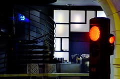 Past sushi time (Jean-Luc Lopoldi) Tags: paysbasque nuit restaurant sushi trafficlight vitrine window nobody vide empty night town ville