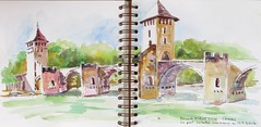 Aveyron N14 (geneterre69) Tags: aquarelle waterclor cahors pont