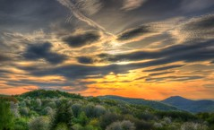 Fire on the sky (Majorimi) Tags: canon eos 70d digital color colorful nice hungary hdr forest green sky sunset cloud red blue hill tree mountain