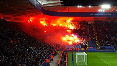 FC Copenhagen (Kobenhavn) fans at the King Power Stadium on a Champions League night in Leicester,  October 2016 (sbally1) Tags: lcfc leicestercity fccopenhagen fckobenhavn championsleague football floodlights flares soccer england premierleague foxes kobenhavn copenhagen