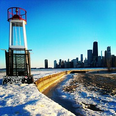 IMG_20130303_170542 (get directly down) Tags: winter lake snow chicago ice beach skyline michigan horizon north avenue