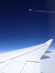 Racing Air Berlin across the Atlantic (janniswerner) Tags: cameraphone above sky up race plane airplane fly flying inflight wings jets wing jet cruising racing atlantic clear airbus airborne lufthansa carrier transatlantic iphone airberlin longhaul lh402 iphone4s