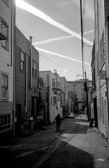 that place where souls get lost (Super G) Tags: sanfrancisco california shadow blackandwhite bw man film lines alley contrail unitedstates crossed fujineopan400 selfdeveloped d7611min65d11
