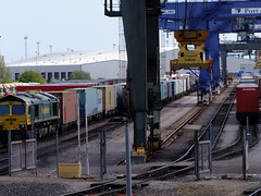 66588 ready with its next train from Felixstowe, with 08585 at the far end of the Terminal 14.37 25 5 2013 (pnb511) Tags: uk suffolk trains shipping freight containers freightliner class66 intermodal felixstowedockandrailwaycompany railmountedgantrys