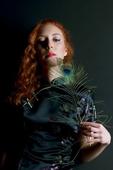 Shangri-La (Apple_of_my_eyes) Tags: girl vintage chinese feathers retro fille rousse plumes redhaired