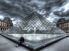 Louvre Pyramid (DaveKav) Tags: paris glass pyramid louvre geometry olympus tourist symmetry symmetrical pei weary e510 thechallengefactory squarebasedpyramid