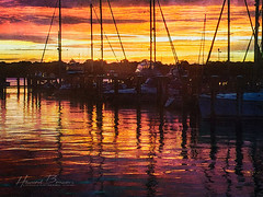 Golden Waters... (Howard Brown Photographic) Tags: sunset sun west reflection water clouds reflections river boats gold golden bay boat maryland sail chesapeake cloudsstormssunsetssunrises