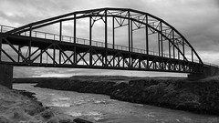 an old English bridge in South Iceland (lunaryuna) Tags: iceland southiceland landscape river oldbridge derelict anenglishbridgeiniceland bridge architecture blackwhite bw monochrome lunaryuna