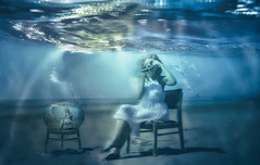 Living in the Goldfish Bowl (sophie_merlo) Tags: model models girl surreal camera photographer sea underwater surrealist surrealism art artistic digital digitalart photoshop fantasy undersea weird wacky bizarre life blue fishbowl goldfish droste photography chair voyeurism voyeur concept conceptual