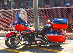 Sox hog (D. Brigham) Tags: motorcycle redsox hog cambridgemass red blue wheels vehicle harleydavidson boston