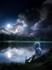 In my dreams... (iwona_podlasinska) Tags: blue boy child childhood clouds dark dream lake moon night water