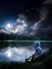In my dreams... (iwona_podlasinska) Tags: blue boy child childhood clouds dark dream lake moon night water