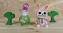 The Cheshire Cat and the rabbit (Busted.Knuckles) Tags: home toys statue lego cheshirecat furrybones rabbitfigure vase olympusomdm10mkii dxoopticspro11