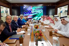 Secretary Kerry and His Team sit Across From Saudi Arabia Crown Prince Muhammad bin Nayef, Deputy Crown Prince, Mohammad bin Salman Al Saud, Foreign Minister Adel al-Jubeir and Other Advisers Before a Bilateral Meeting in Jeddah (U.S. Department of State) Tags: johnkerry jeddah saudiarabia muhammadbinnayef mohammadbinsalmanalsaud adelaljubeir