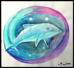 Delfin 2 ( Niels Len  Ilustracin - sketch/Portafol) Tags: draw drawing colores color dibujo chile santiago art arte acuarela watercolor acrlico ilustration ilustracion work urban urbano city ciudad animales animals
