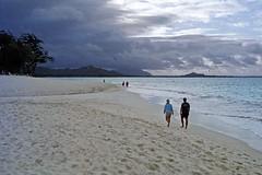 Kailua Beach (1) (AntyDiluvian) Tags: hawaii 2001 30thanniversary oahu northshore beach kailuabeach whitesand surf kiteboarding clouds kitesurfing kailua