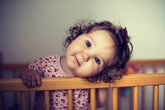 Peek-a-boo! (Marta A Orlowska) Tags: baby 9months 9monthold babygirl peekaboo cheeky sweetie canon eos 5dmk3 50mm babyeyes babysmile smilingbaby curlyhair cuteness cute beautiful charmingsmile thoseeyes