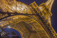 Eiffel Magic / La Magie Eiffel (PrimalOptic) Tags: simplybeautiful paris eiffel tour tower france night lights lumieres beautiful bluetime heurebleu europe august primaloptic 2016 metal yellow gold or jaune francais french huge énorme amour love gustave 1889 wroughtiron lattice