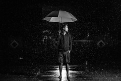 Rain on my feet (Moos Wu) Tags: selfie myself strobe rain umbrella people portrait 85mmf14g bw