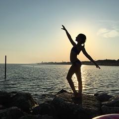 Twilight ballerina (p!o) Tags: iphone6s iphone iphoneography backlight sunset twilight ballerina ballet kids sea beach summer seashore sootc nofilter silhouette challengeyouwinner