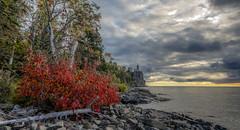 Autumn at Split Rock (Paul Domsten) Tags: splitrocklighthouse lighthouse minnesota beaverbay pentax lakesuperior autumn fallcolors red trees water lake colors northshore