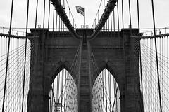 Brooklyn Bridge B&W (maui photographer) Tags: brooklyn bridge bw black white blackandwhite nyc new york newyork icon iconic landmark city cityscape lines flag marques baclig mauiphotographer