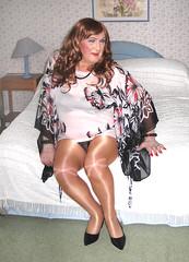 Colskimpytop-003 (fionaxxcd) Tags: crossdresser m2f mtf transvestite trannie tranny wolford tights pantyhose bra upskirt stilettoes longhair rednails lipstick