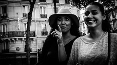 Happiness arrives unexpectedly (M.DStreets) Tags: amateur blackwhite bw candid contrast centre eyes face french france gx7 hat inspiration city mirrorless lumix mdstreets monochrome mft mono noir outdoor panasonic paris pavement street shadows travel urban v