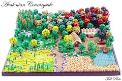 Avalonian Countryside (1 of 9) (Emil Lid) Tags: lego moc goh avalonia countryside landscape forest field farm lake